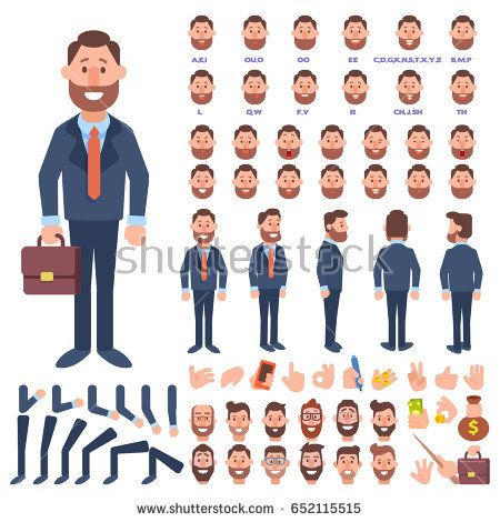 Front Side Back View Animated Character Business Man Character