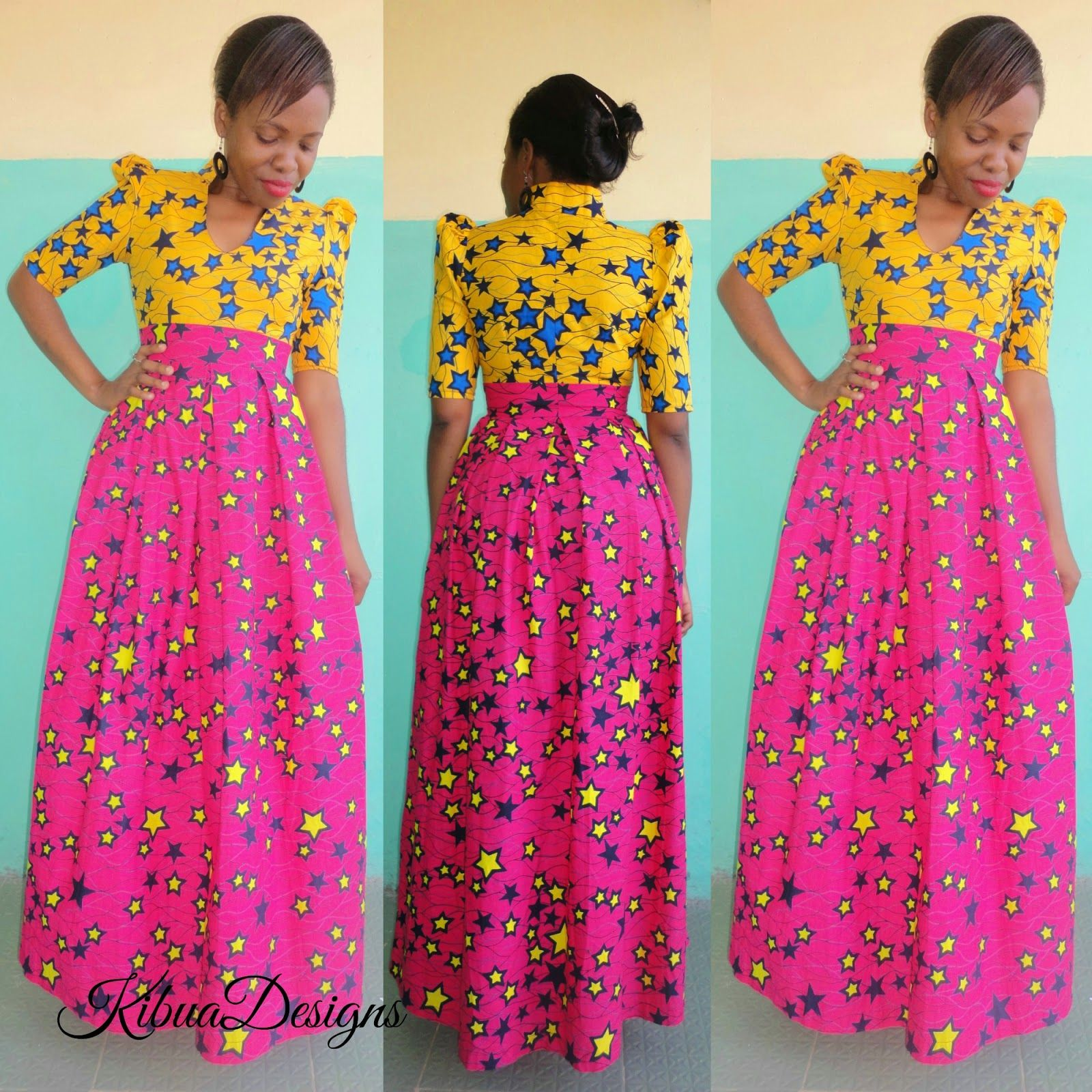 Kibua Designs For African Fashion LONG KITENGE DRESS