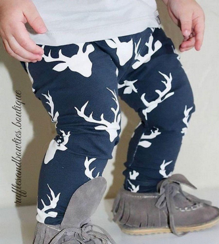 35f888dfe5aa Baby Girls   Boys Buck Deer Head Oh Deer Navy Blue Leggings - Boys ...