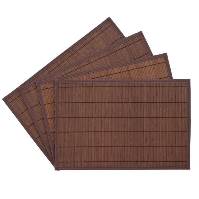 Benson Mills Bali Bamboo Placemats 12-inch x 18-inch, Chocolate, Set of 4 in…