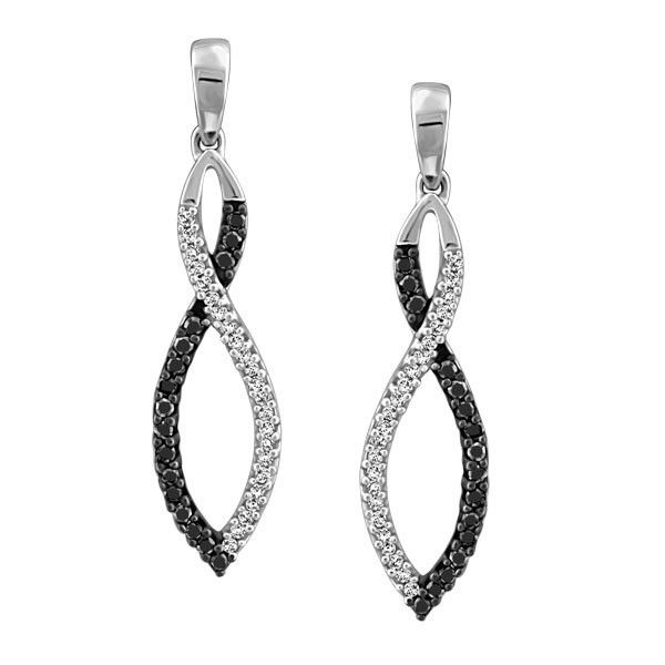 10KT White gold 0.25 ctw diamond and colour enhanced black diamond earrings. EAR-DIA-1426