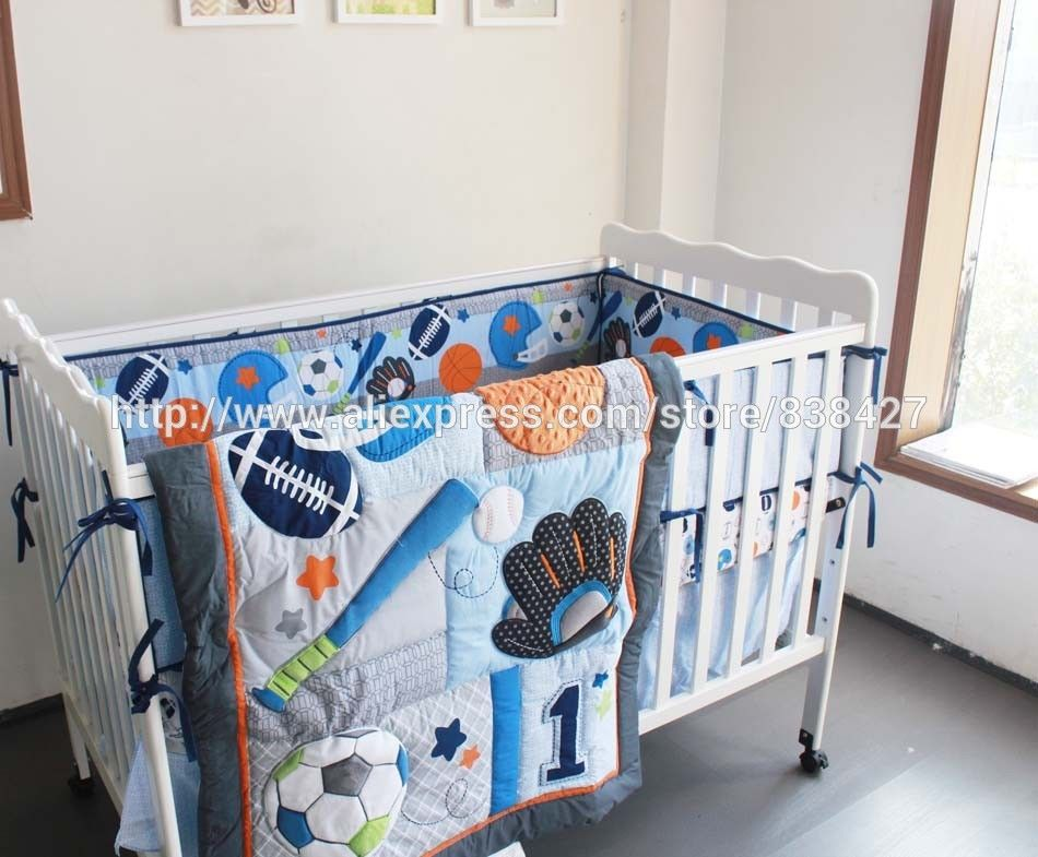 Bedding Set Luxury Quality Sets Usa Directly From China Suppliers 8 Pcs Baby Crib Baseball Sports Boy