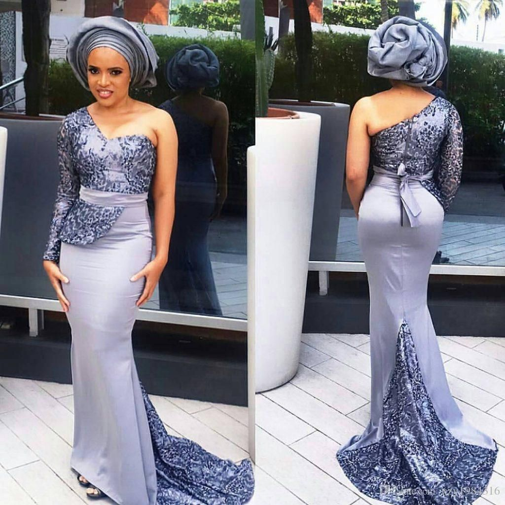 One Shoulder Long Sleeve Prom Dresses Stylish Aso Ebi Mermaid Sweep Train Satin Evening Dresses Peplum Lace Applique Sash Evening Party Gown Buy Prom Dresses On Latest African Fashion Dresses Lace