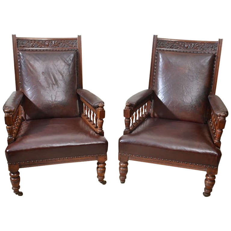 Antique Pair Of English Leather Armchairs C 1880 Leather