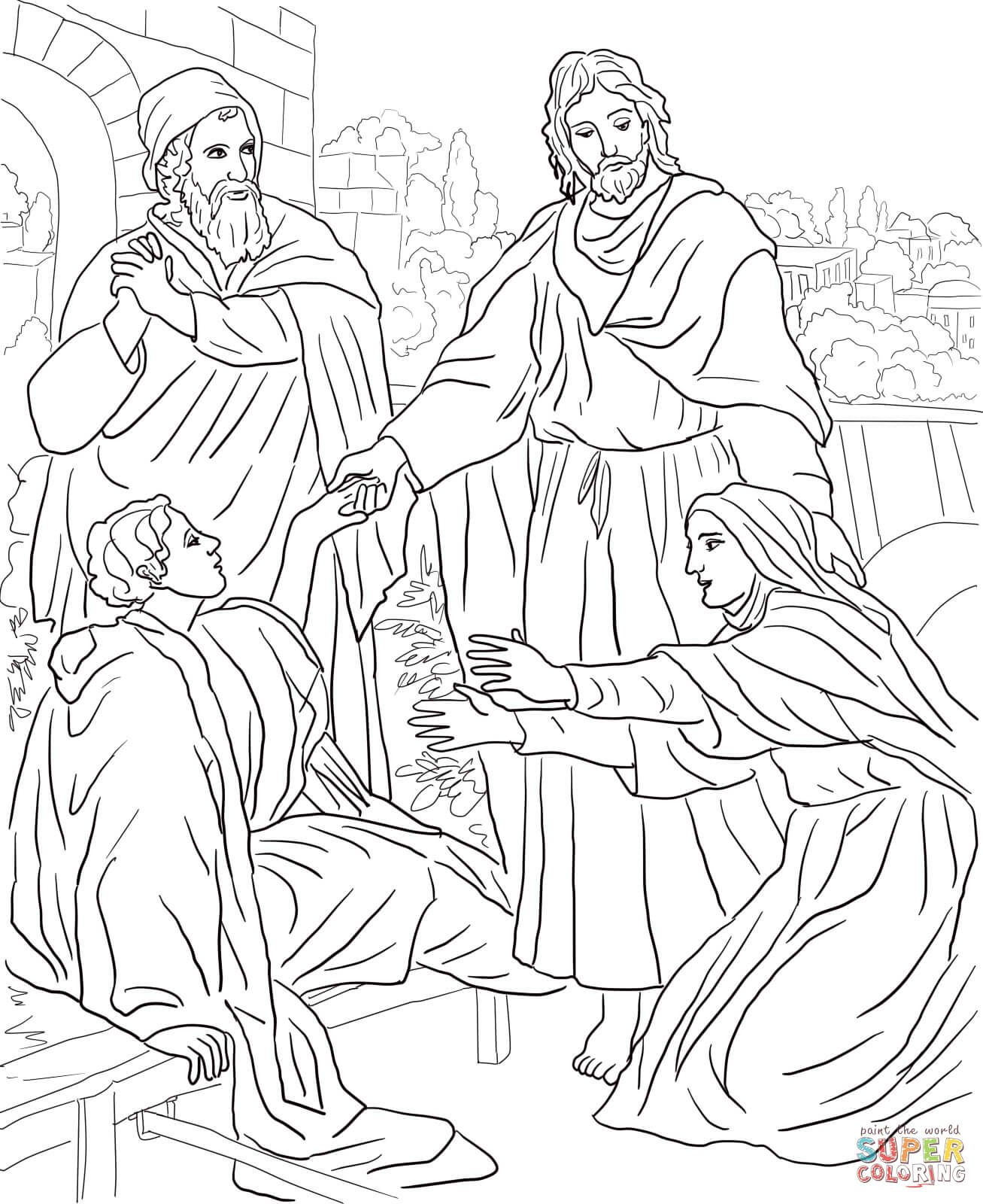 Jesus Raises Widow S Son Super Coloring Bible Coloring Pages