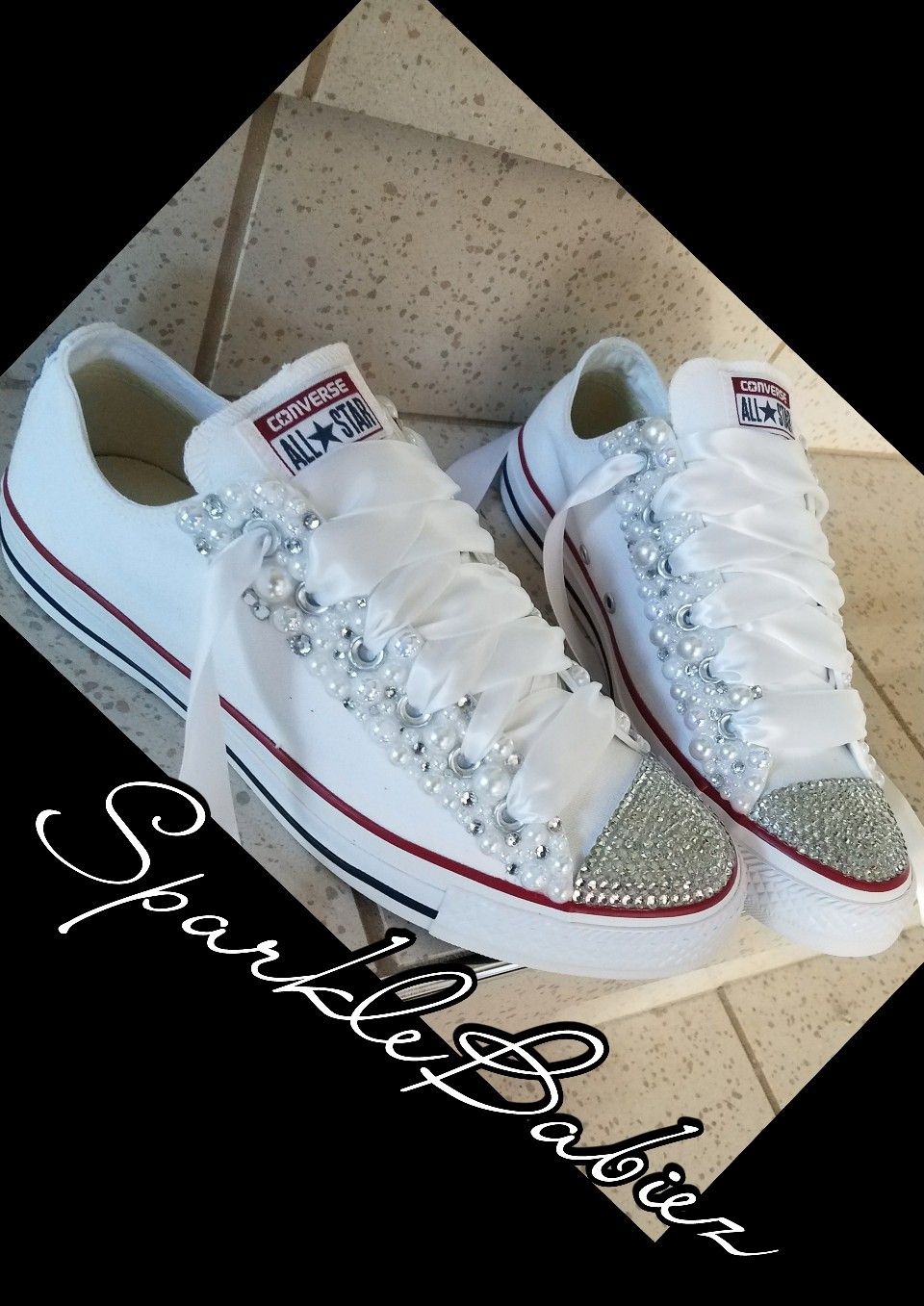 f95cc51a5ead Bling   Pearl Chuck Taylor All Star Converse Wedding Bridal Shoes ...