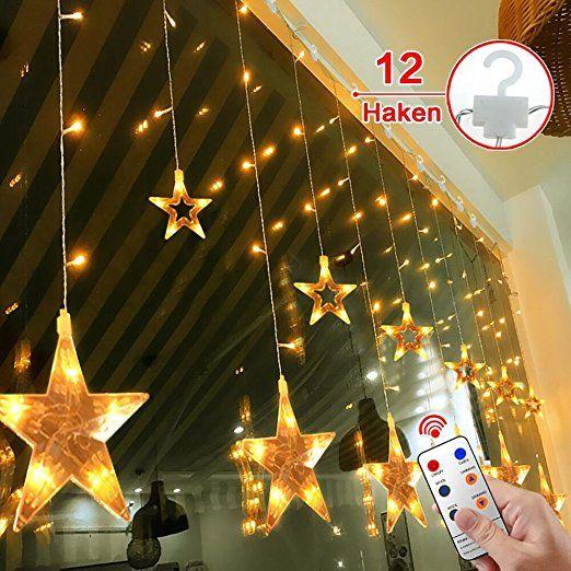 12 Sterne LED Lichtervorhang Lichterkette im Innen/Außen, MaLivent ...