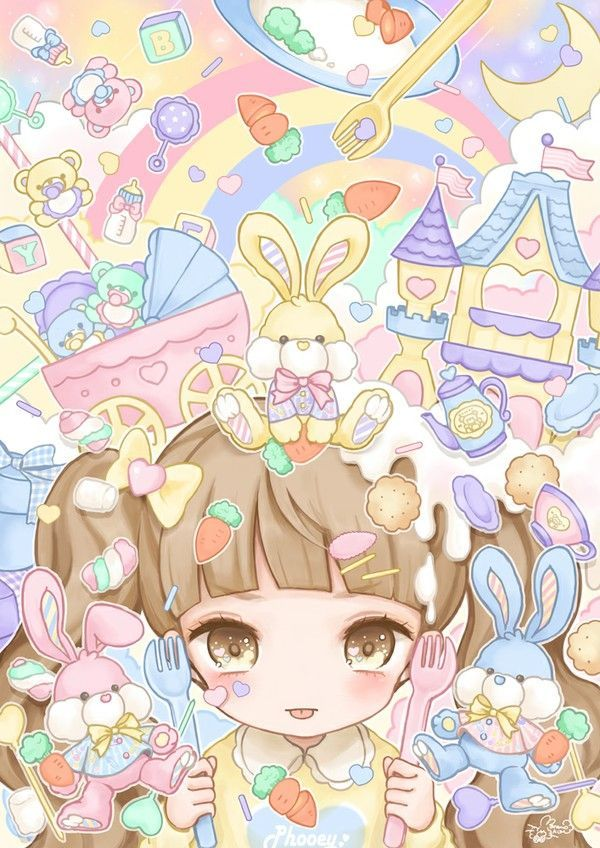 kawaii anime background Google Search Pastel and