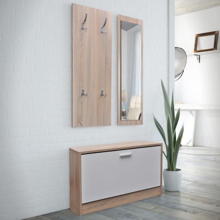Vestiaire D Entree 3 Elements En Bois Blanc Et Aspect Chene Vestiaire Entree Meuble Entree Meuble Couloir