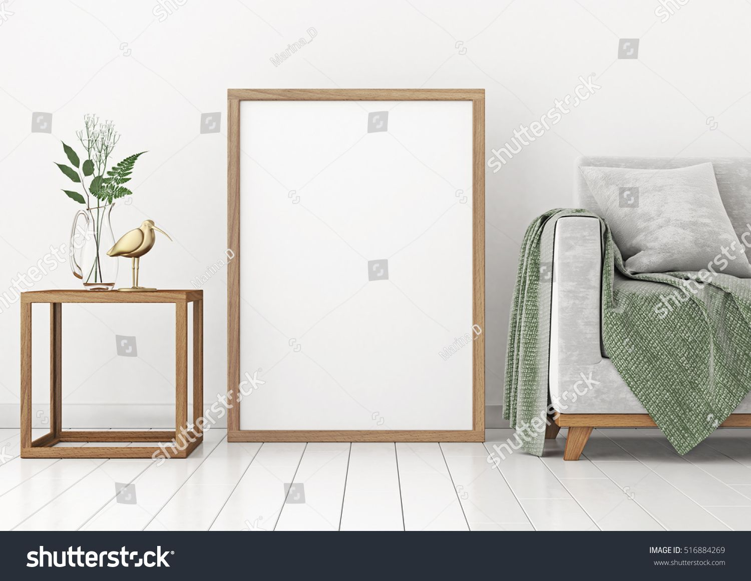Interior poster mock-up with empty wooden frame and plants on white ...