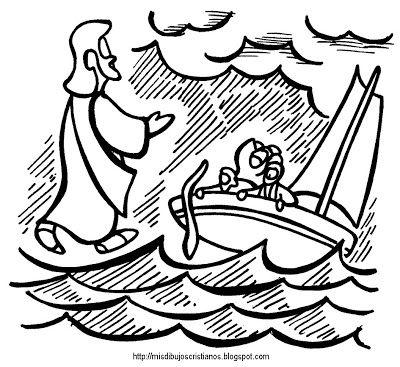 Jesus Camina Sobre Las Aguas Jesus Walks On The Sea Dibujos 10 Mandamientos Para Ninos Cristianos