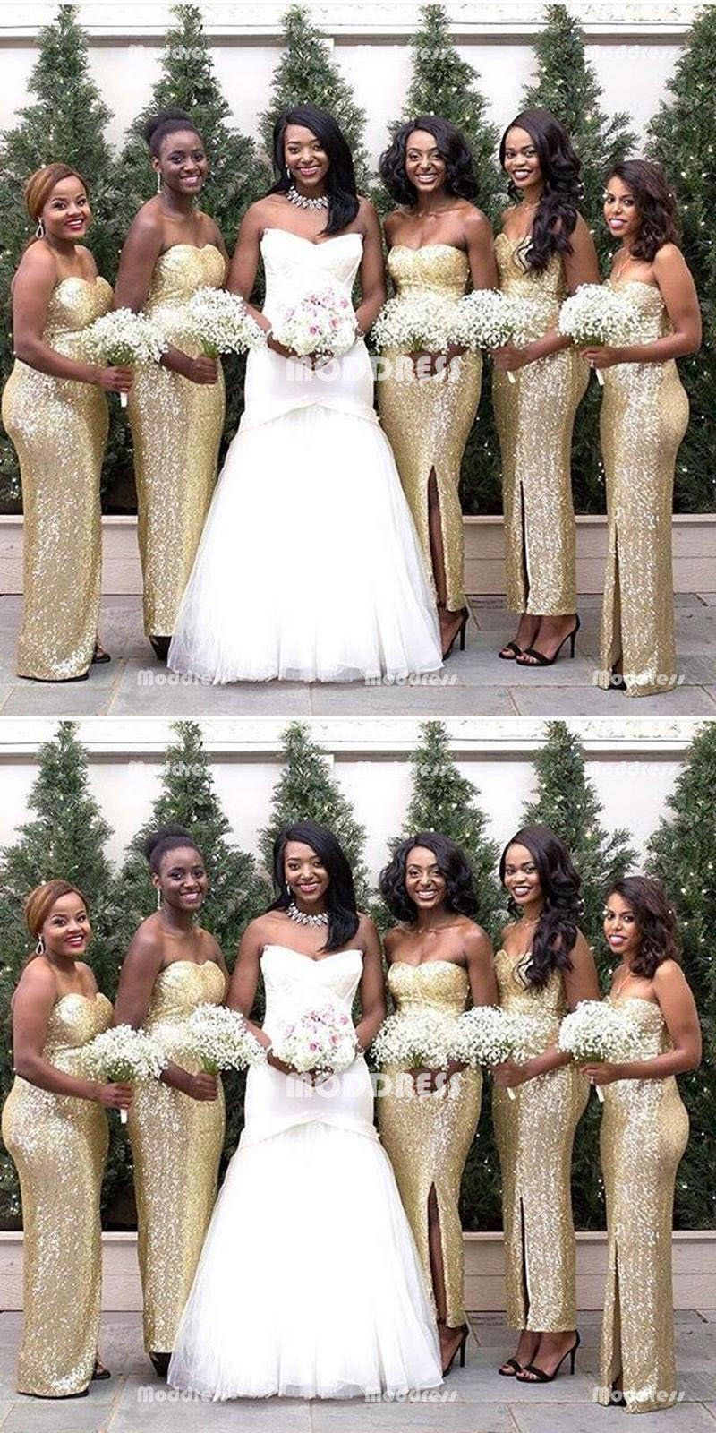13407826114 Gold Sequins Bridesmaid Dresses Sweetheart Long prom Dresses with High  Slit