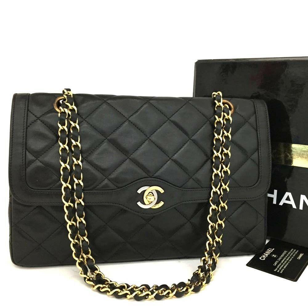 d30ab4cb38877c #FORSALE Vintage CHANEL Paris Limited Double Flap Quilted Lambskin Shoulder  Bag /rr80 - $590
