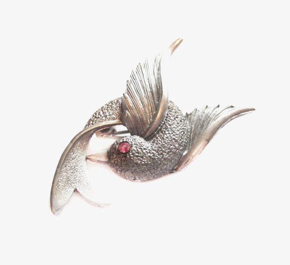 Pewter Bird Pin / Silver Rhinestone Brooch