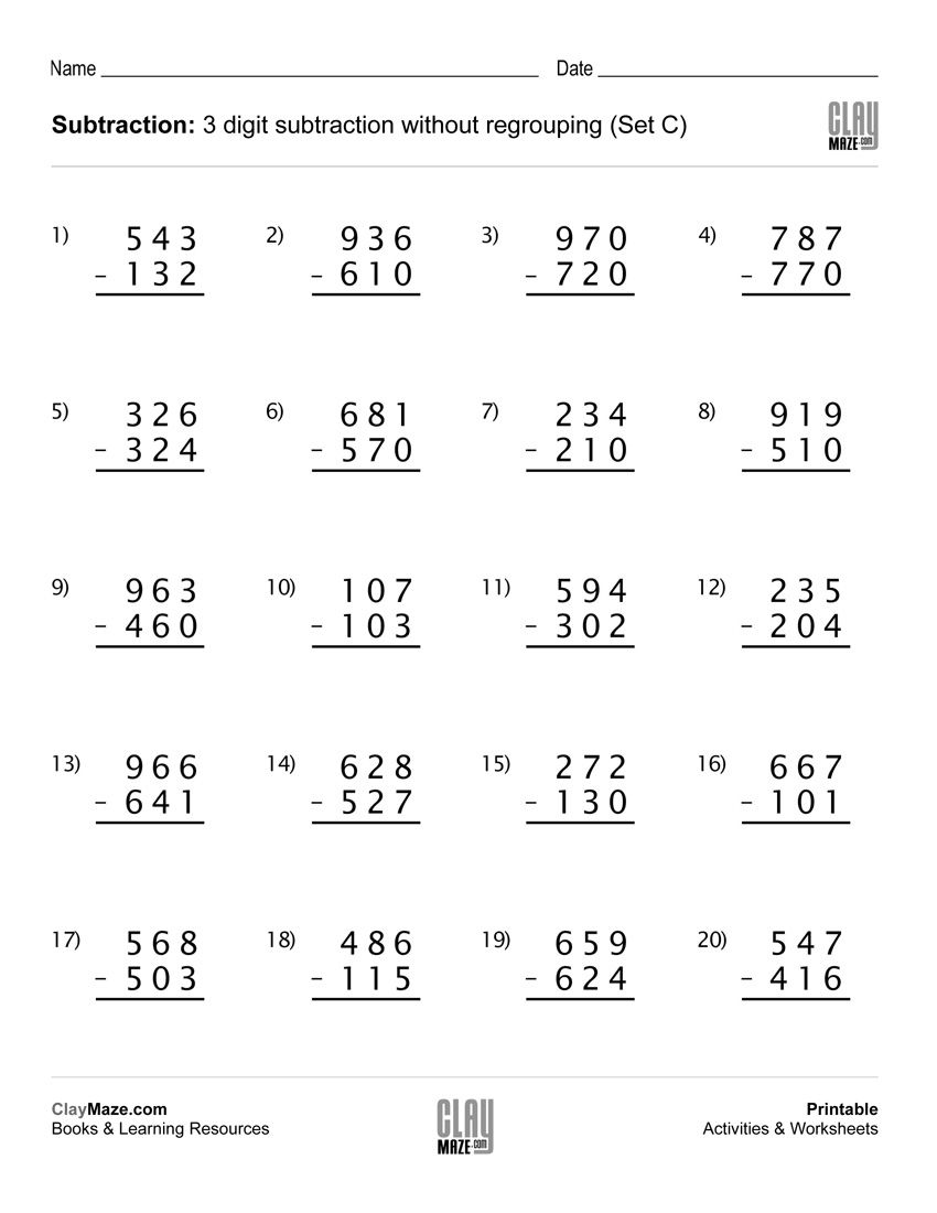 4 Free Math Worksheets Third Grade 3 Addition Adding 2 Digit Plus
