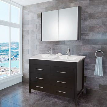 Vigo's 48-Inch Maxine Double Bathroom Vanity features a Top-Mount Ceramic Countertop and Integrated Sink with an Optional Matching Vanity in a rich Espresso Finish | KitchenSource.com