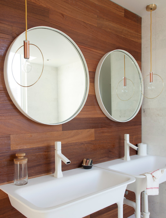 Dual Vanity With Round Mirrors Lonny Modern Bathroom Trends