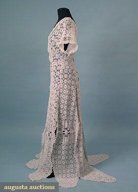 Irish Crochet Gown, C. 1912, Augusta Auctions, March/April 2005 Vintage Clothing & Textile Auction, Lot 499