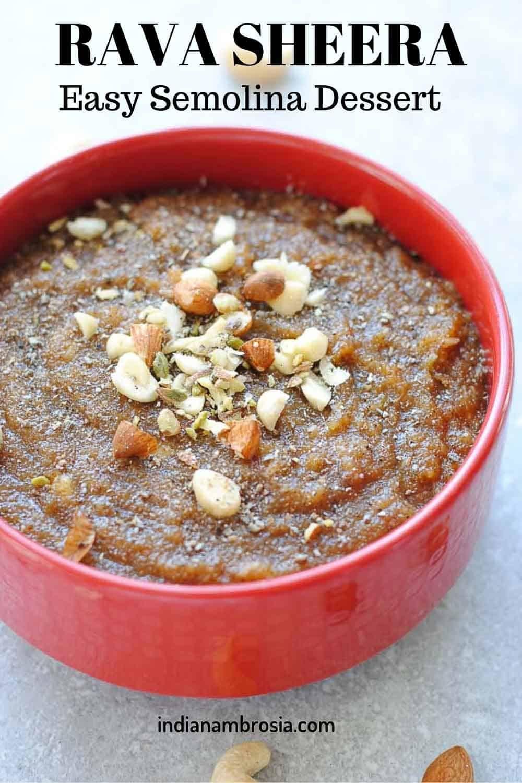 Moist And Delicious Semolina Halwa Sheera Recipe Sheera Recipe Indian Desserts Recipes
