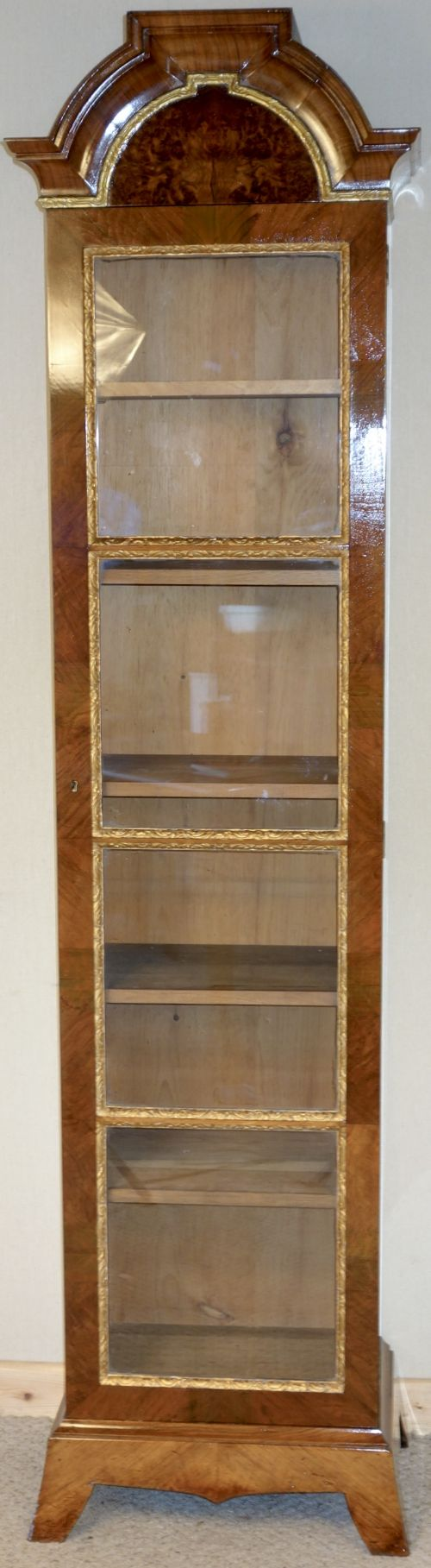 Genial Walnut Tall / Narrow Display Cabinet Gilt Decoration