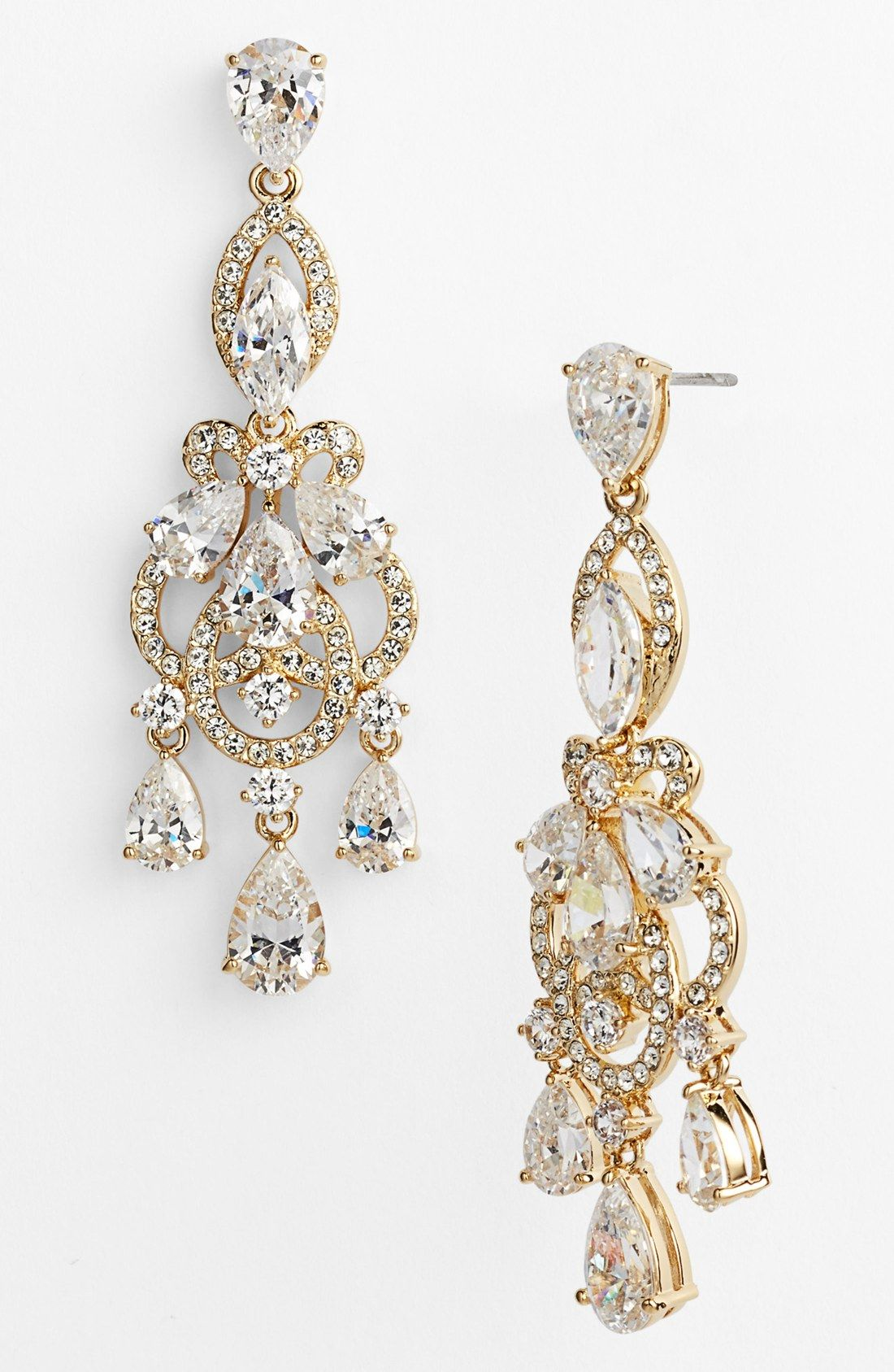 These Gold And Crystal Chandelier Earrings Will Be Perfect For A Bride