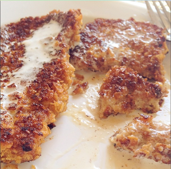 CRUNCHY FRENCH TOAST  Mix: 2 eggs, 1/4 cup milk, 2tbsp flour, 2tbsp sugar, 1tsp cinnamon, 1tsp vanilla extract Separate: Crunch 2 cups corn flakes in ziploc bag Cooking: 2tbsp of butter in pan of medium heat, Soak bread in egg mixture & put in bag of corn flake crumbs, Lay on pan About 3 min on each side Glaze: 1/2 cup chilled whipping cream in chilled mixing bowl, 1tbsp powdered sugar, 1tsp vanilla, Whisk 6 min or until thick & let set in freezer