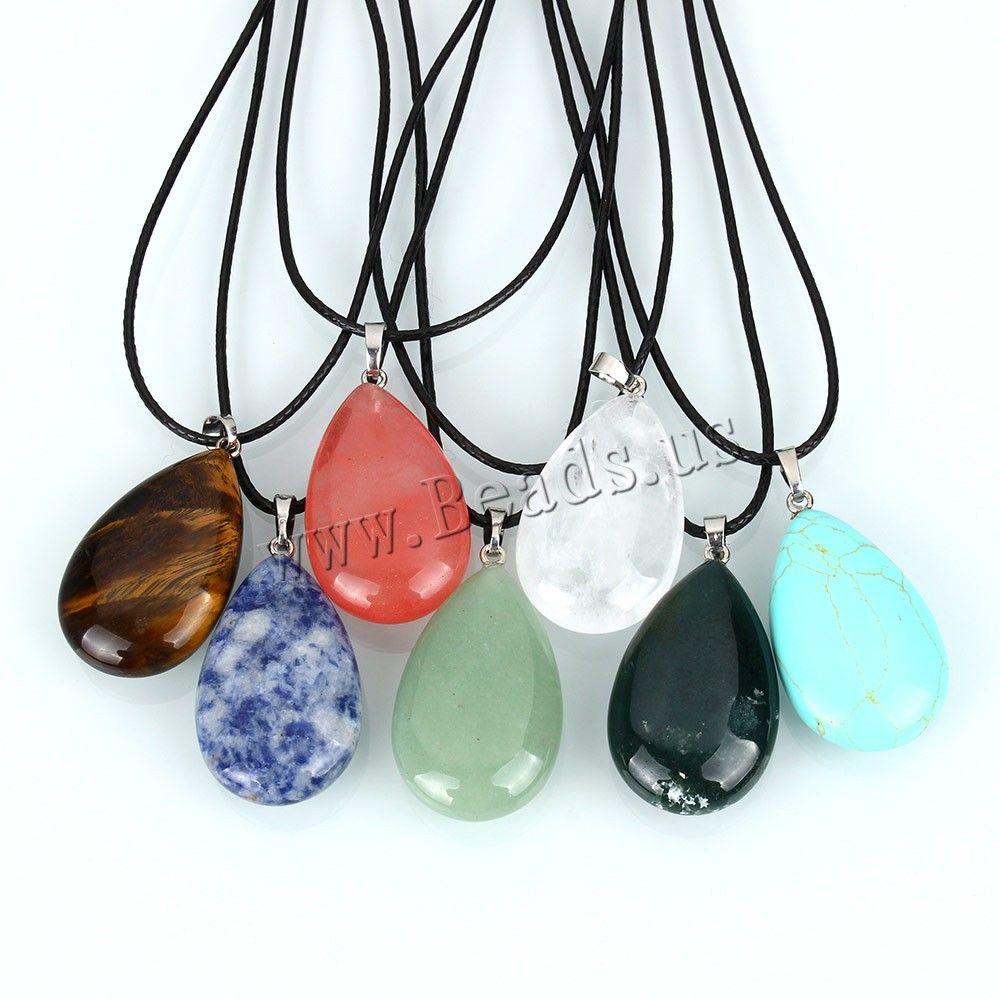 Charm Genuine Stone Gemstone Leather Necklace