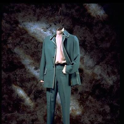 ' high turtleneck silk shirt '   Turquoise suit (1971s) and Pale pink twilled silk high turtleneck ,shirt(1968s) by Mr.Fish  http://collections.vam.ac.uk/item/O164817/shirt-mr-fish/
