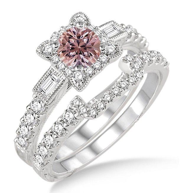1 5 Carat Morganite Diamond Vintage Fl Bridal Set Engagement Ring On 10k White Gold
