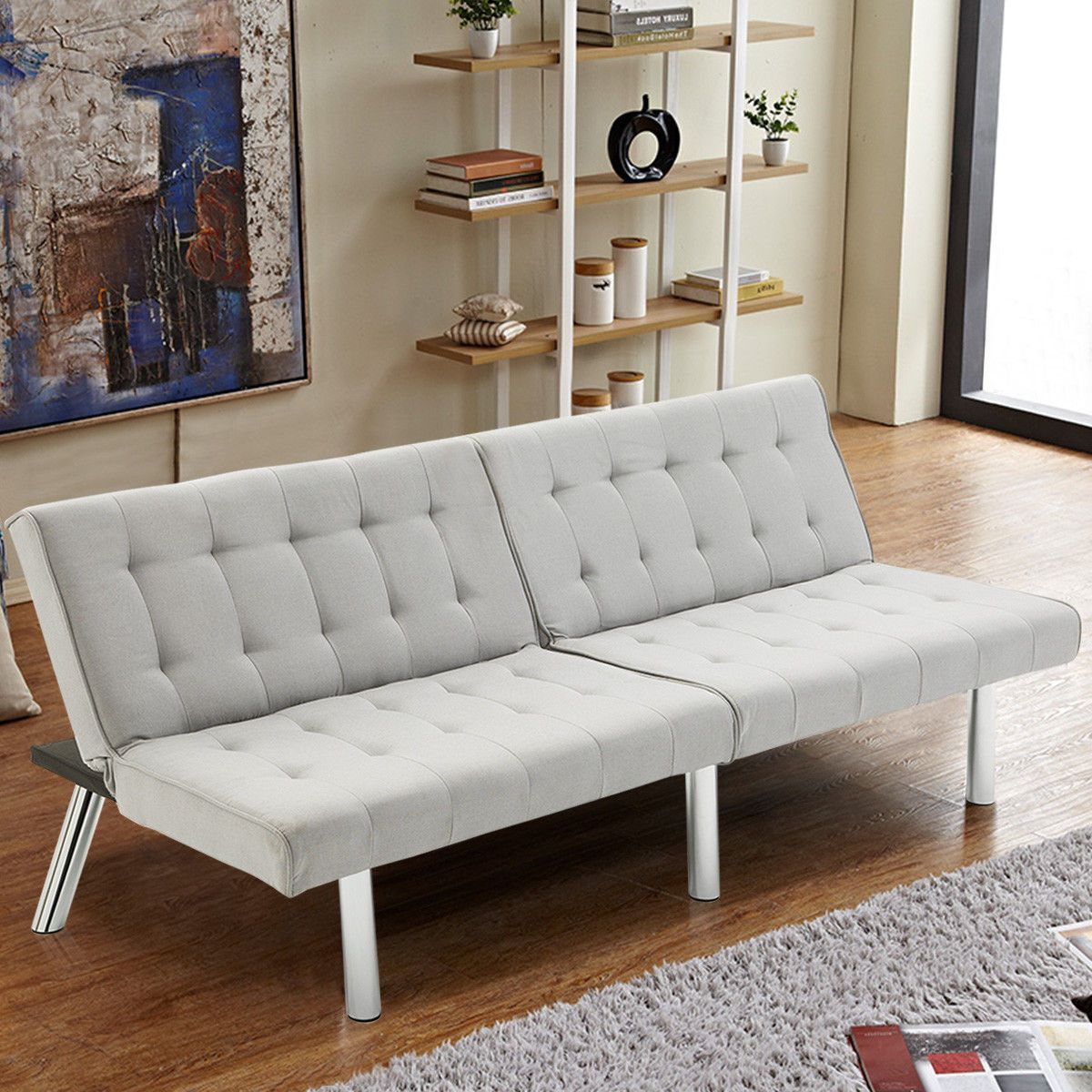 Giantex Modern Living Room Furniture Split Back Futon Sofa Bed