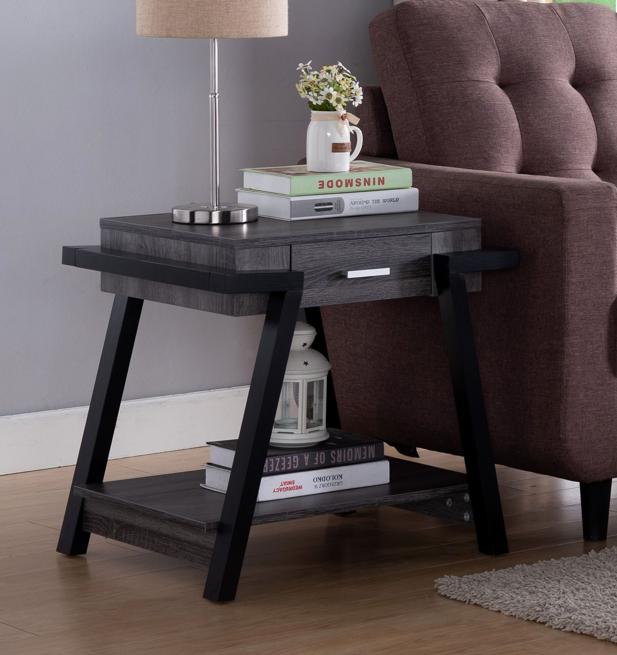 Id Usa 182339et Distressed Grey Black End Table Unique End Tables End Tables With Storage End Tables With Drawers