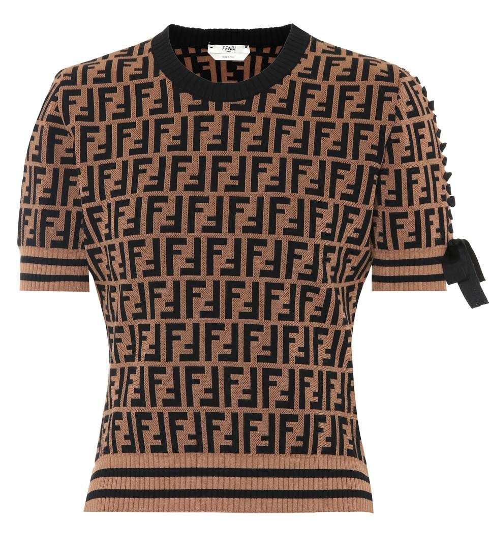 brown jacquard-knit sweater | fendi clothing, short sleeved