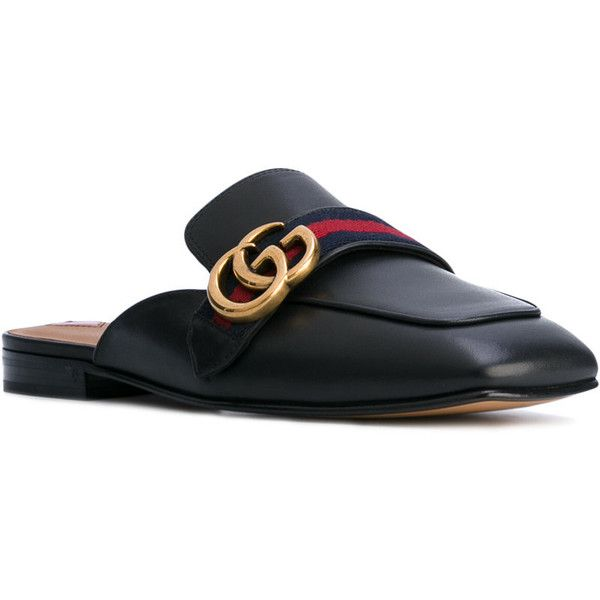 Gucci GG Vintage Web slippers (£510) ❤ liked on Polyvore featuring shoes and slippers