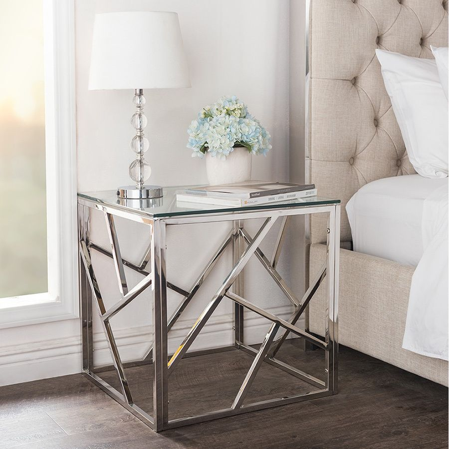 bowman contemporary tempered clear glass end tableside table with sturdystainless frame. bowman contemporary tempered clear glass end tableside table with