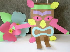 Design Sprinkle Homemade Luau Party Paper Bag Tiki Guy