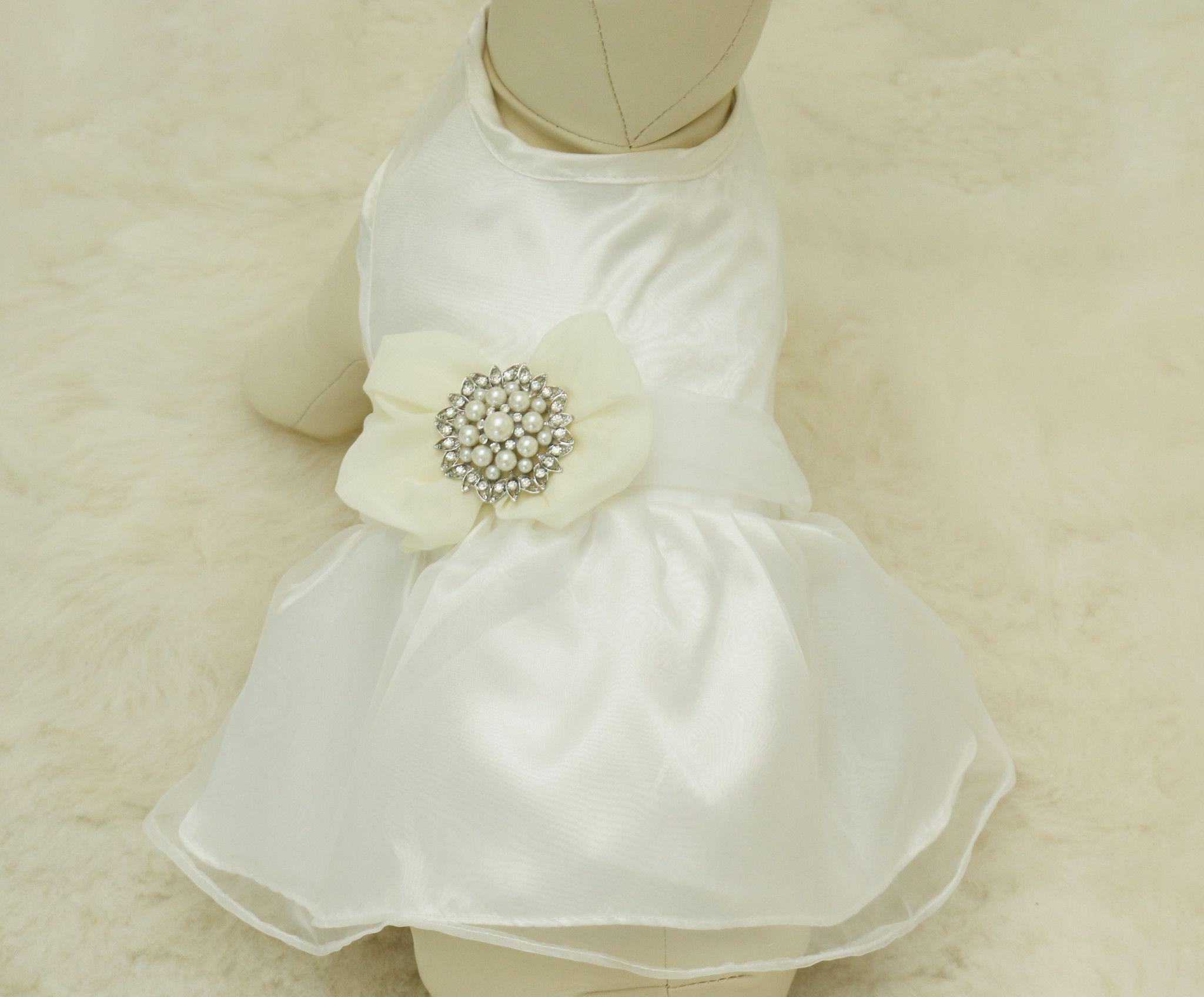 Ivory Dog Dress Pet Wedding Accessory Dog Clothing Rhinestone