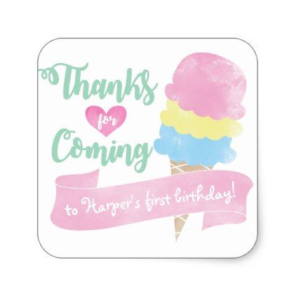 Personalised thank you stickers ice cream theme square sticker customized designs custom gift