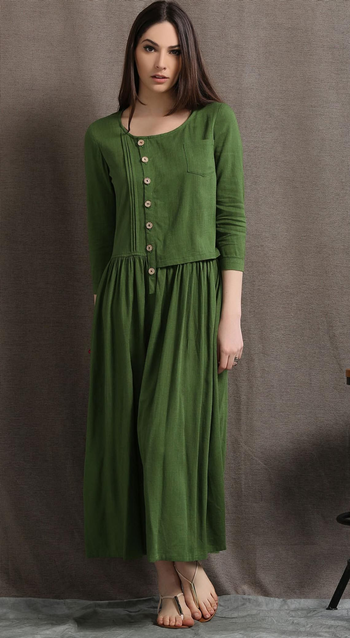 0eea1c6360 Green Linen dress long linen dress womens dresses linen