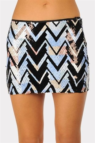 Cool As Ice Zig Zag Skirt - Blue $34.99 necessaryclothing.com