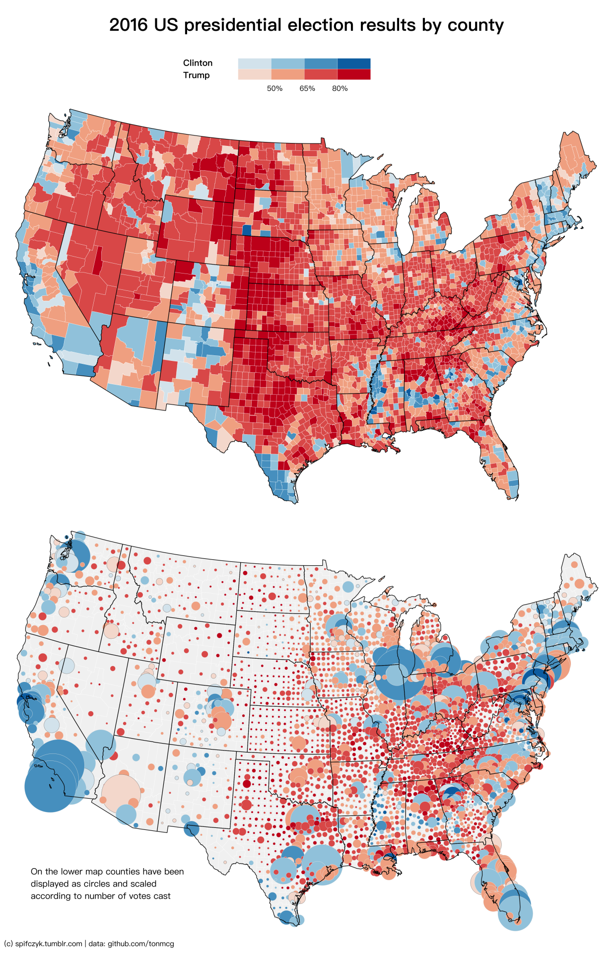 2016 US Presidential Election Results by County On the lower map