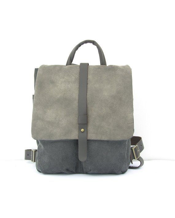 f909e2c622a904 Gray Canvas Backpack, Lined Bag, Charcoal Bags, Compartment Bag, Mens  Backpack, Womens Backpack, Unique Leather Schoolbag