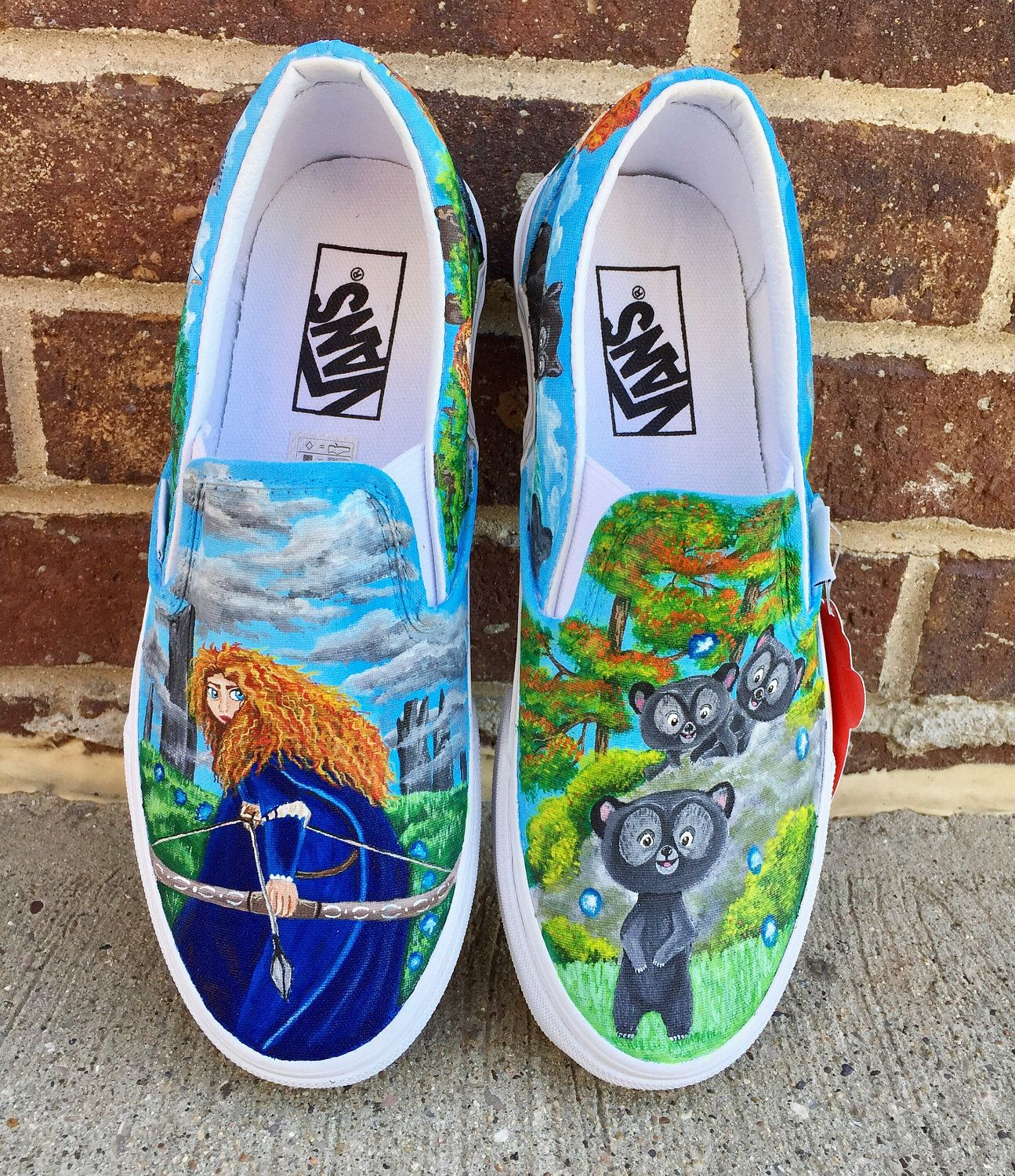 A personal favorite from my Etsy shop https://www.etsy.com/listing/521368477/disney-brave-painted-shoes