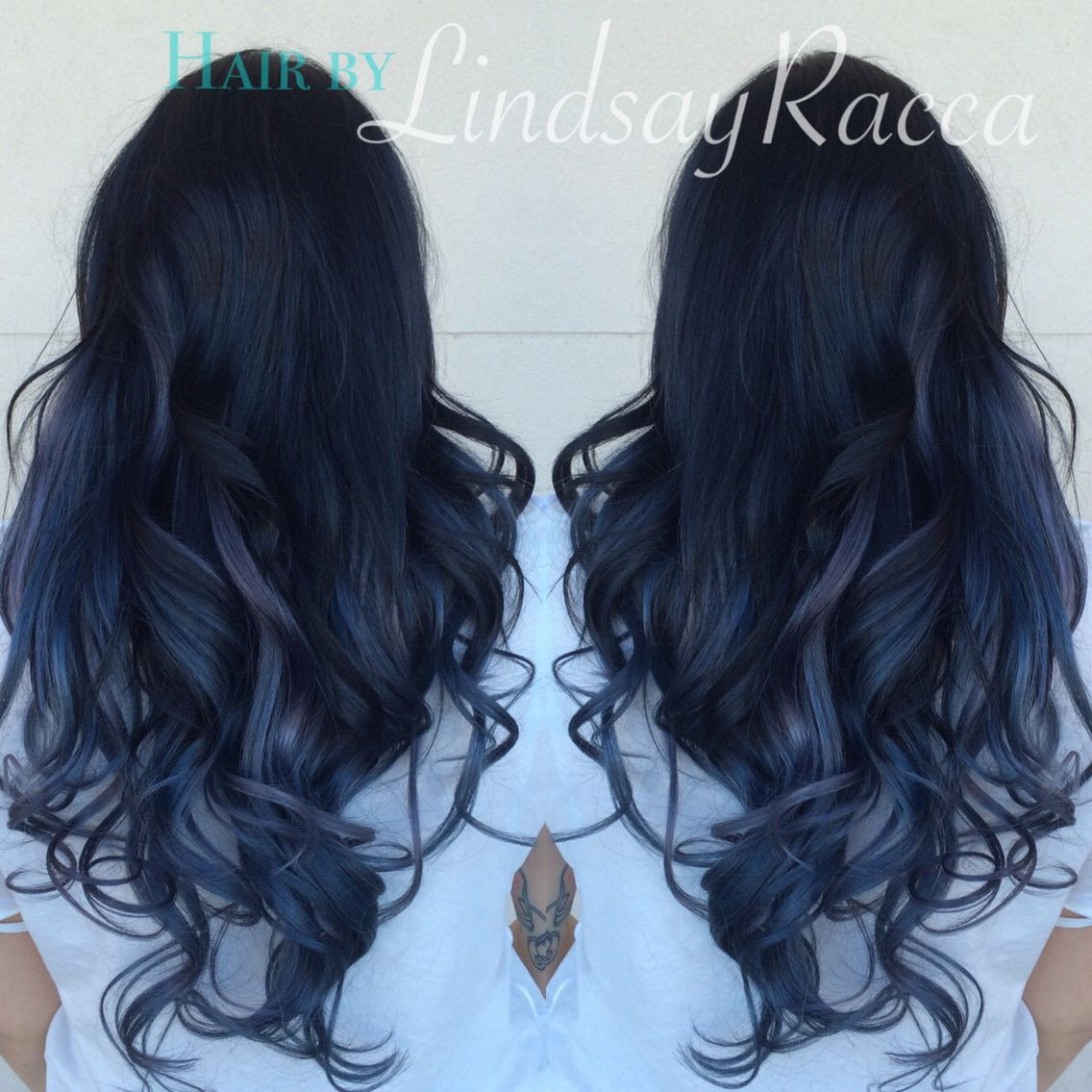 Black To Grey Slate Blue Ombre On Extensions Blacktogreyombre