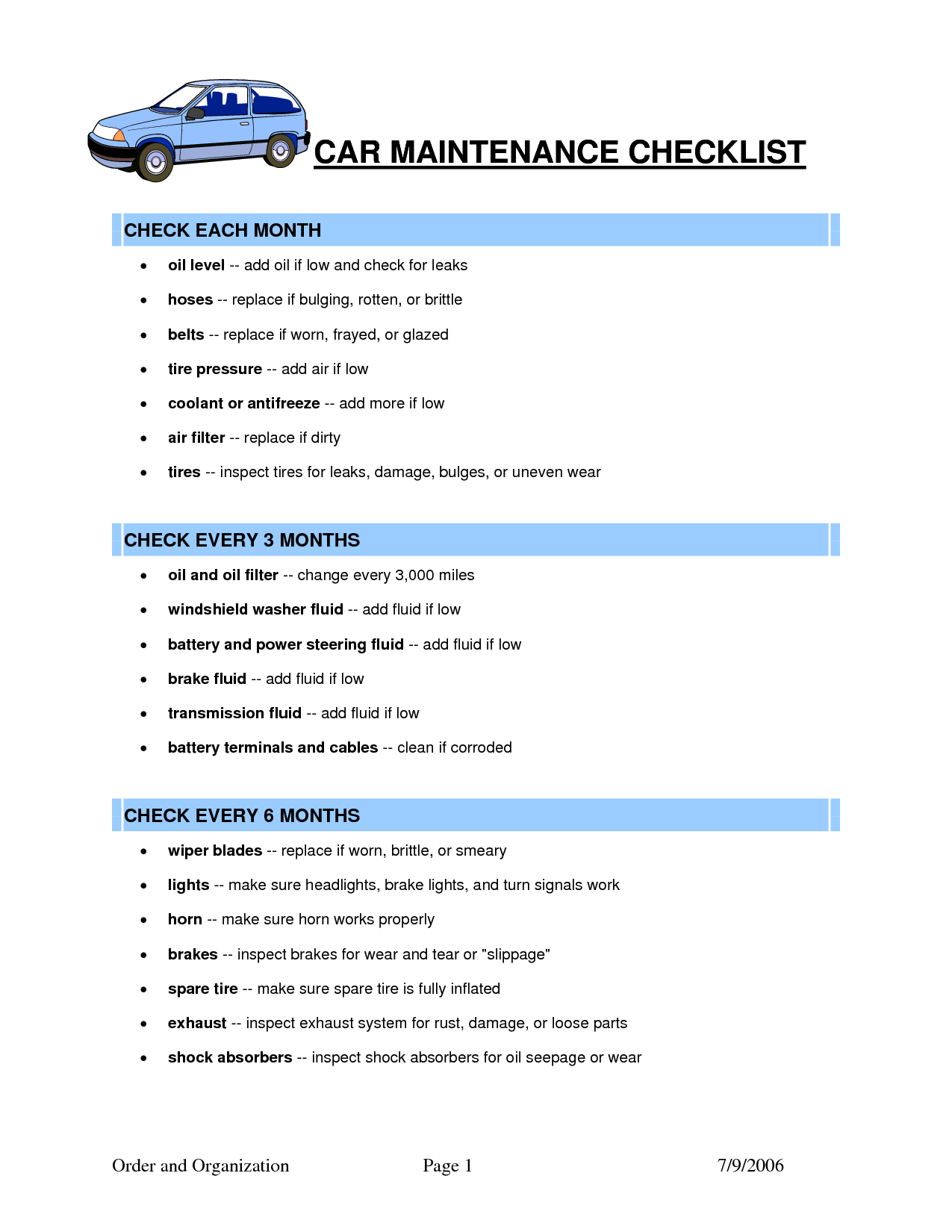 Car Maintenance Checklist >> Car Maintenance Checklist Template Car Maintenance Tips