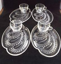 Pressed Glass Cups Glass Tea Set Vintage Pressed Glass Vintage Dishware