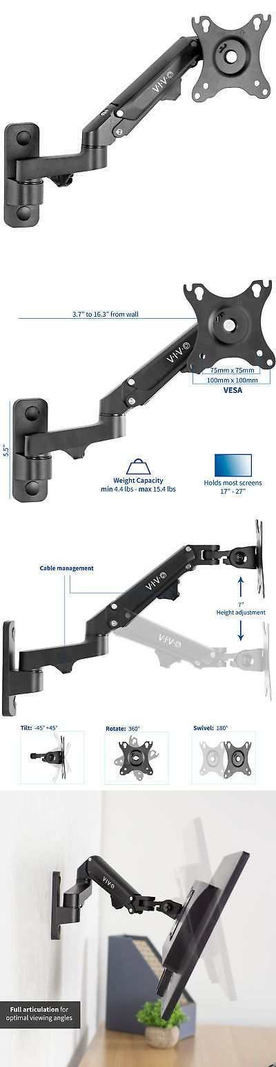 Vivo Premium Aluminum Single Lcd Monitor Wall Mount Arm For Screens Up To 27 Lcd Monitor Screen Mounts Monitor