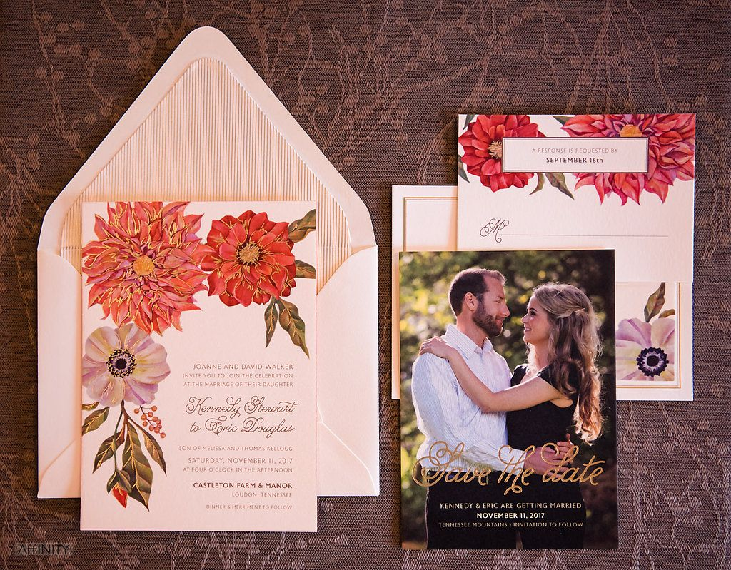 Orange and Purple Wedding Invitation at Willows Lodge for Weddings ...