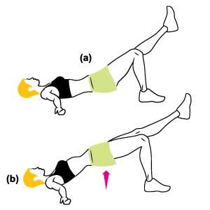 Single-Leg Glute Bridge : Lie on your back with your arms out to the side, knees bent, and feet flat on the floor, hip-width apart. Keeping your thighs aligned, straighten one leg so that your toes point up (a). Squeeze your glutes to lift your hips evenly off the floor (b), then lower. Do 15 to 20 reps, then switch legs.