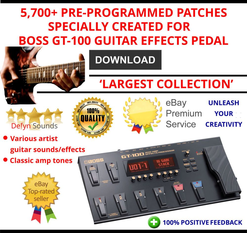 5,700+ BOSS GT-100 GUITAR EFFECTS PEDAL PRE-PROGRAMMED TONES