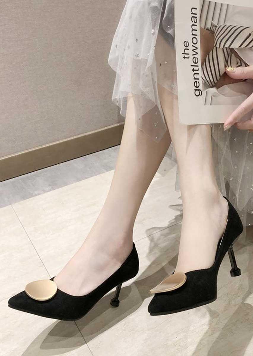 Black Round Buckle Slip On Heel Dress Shoe In 2020 Heels Dress And Heels Shoes